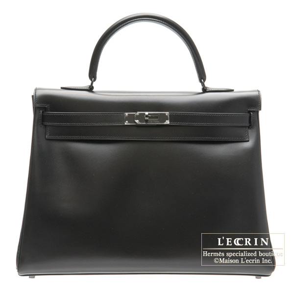 Hermes So-black Kelly bag 35 Retourne Black Box calf leather Black hardware
