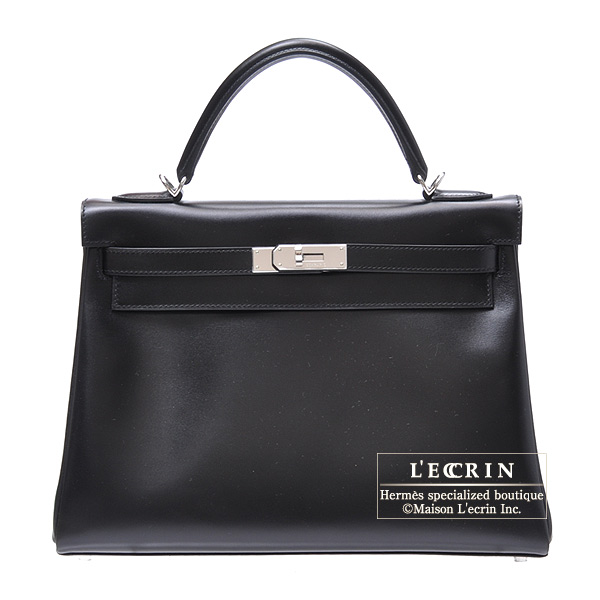 Hermes Kelly bag 32 Retourne Black Box calf leather Silver hardware
