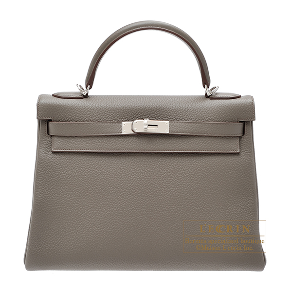 Hermes Kelly bag 32 Retourne Etain Clemence leather Silver hardware