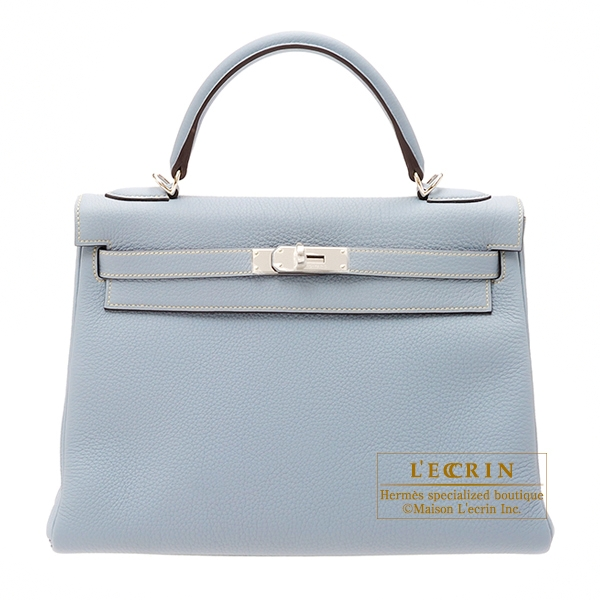 Hermes Kelly bag 32 Retourne Blue lin Togo leather Silver hardware