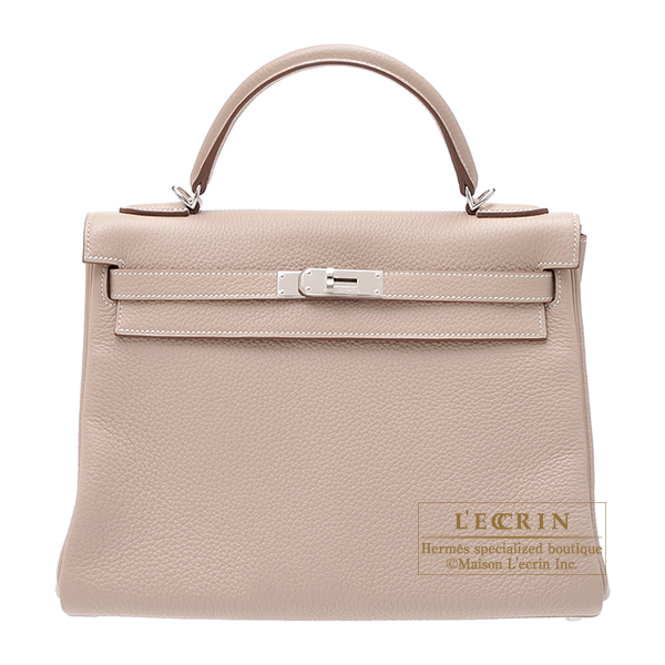 Hermes Kelly bag 32 Retourne Argile Clemence leather Silver hardware