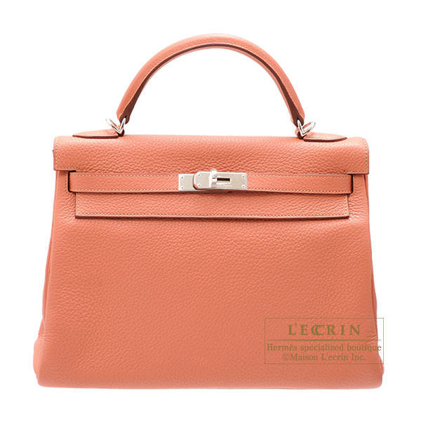 Hermes Kelly Amazon bag 32 Retourne Rose tea Clemence leather Silver hardware