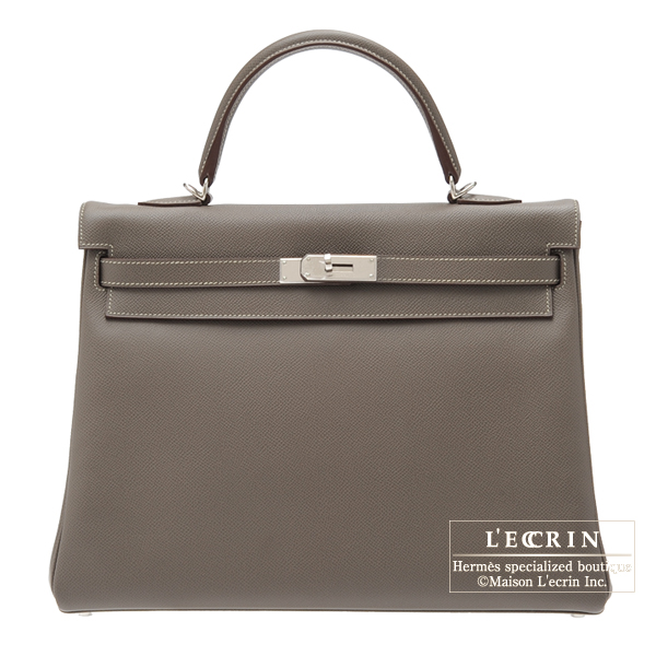 Hermes Candy Kelly bag 35 Retourne Etain Epsom leather Silver hardware