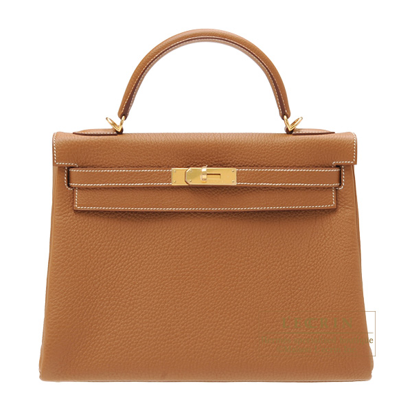 Hermes Kelly bag 32 Retourne Gold Togo leather Gold hardware