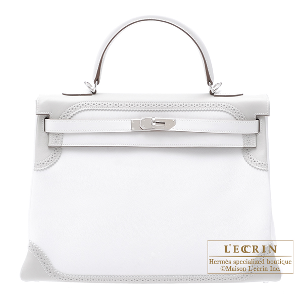 Hermes Kelly Ghillies bag 35 Retourne White/Pearl grey Swift leather Silver hardware