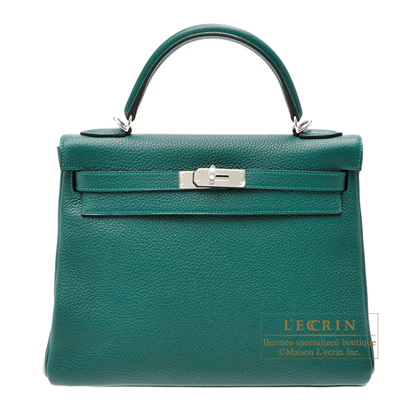 Hermes Kelly bag 32 Retourne Malachite Clemence leather Silver hardware