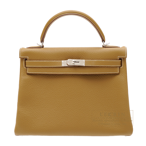 Hermes Kelly bag 32 Retourne Kraft Clemence leather Silver hardware