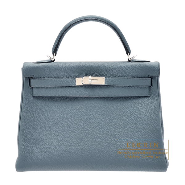 Hermes Kelly bag 32 Retourne Blue orage Togo leather Silver hardware