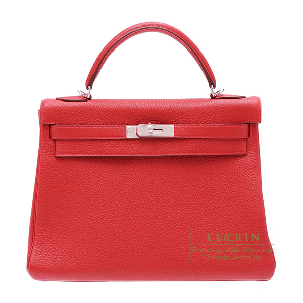 Hermes Kelly bag 32 Retourne Rouge casaque Clemence leather Silver hardware