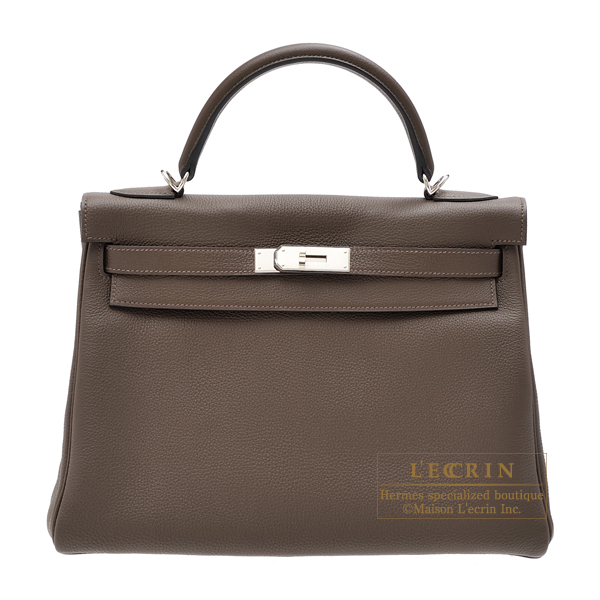 Hermes Kelly bag 32 Retourne Ecorce Togo leather Silver hardware