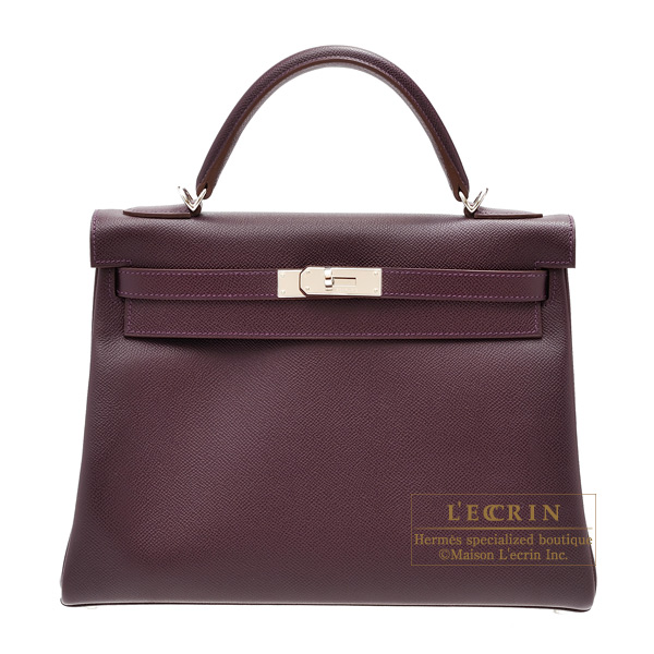 Hermes Kelly bag 32 Retourne Raisin Epsom leather Silver hardware