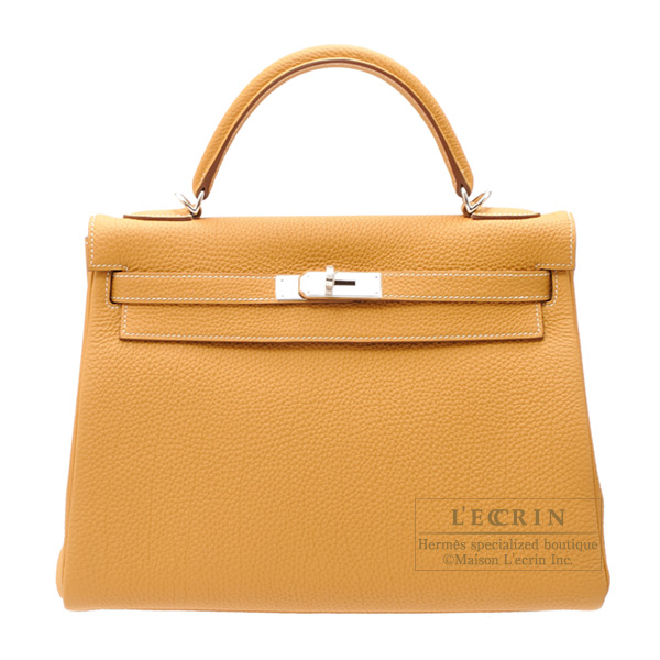 Hermes Kelly bag 32 Retourne Natural sable Togo leather Silver hardware