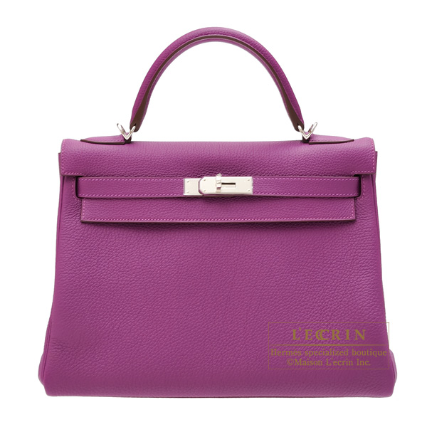 Hermes Kelly bag 32 Retourne Anemone Togo leather Silver hardware