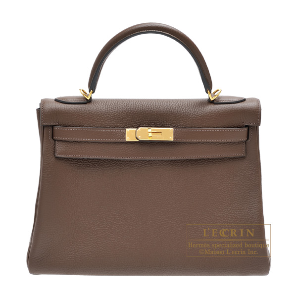 Hermes Kelly bag 32 Retourne Cacao Clemence leather Gold hardware