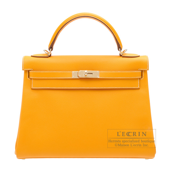 Hermes Candy Kelly bag 32 Retourne Jaune d'or Epsom leather Champagne Gold hardware