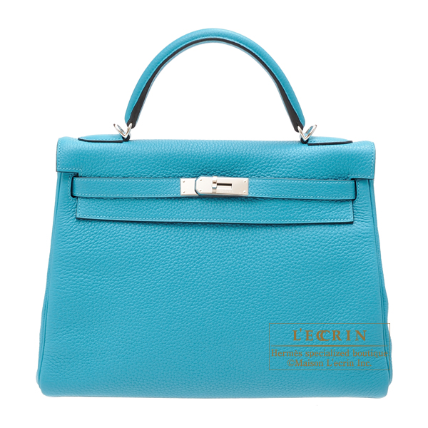 Hermes Kelly Amazon bag 32 Retourne Turquoise blue Clemence leather Silver hardware