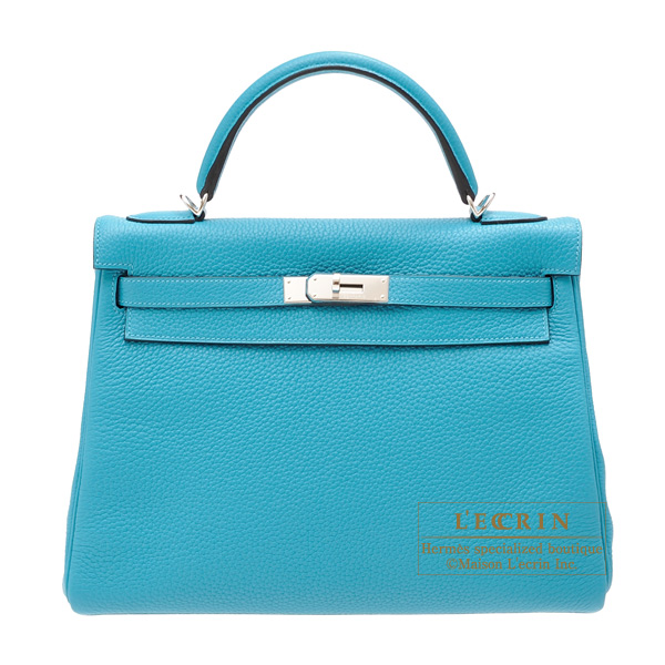 Hermes Kelly bag 32 Retourne Turquoise blue Togo leather Silver hardware