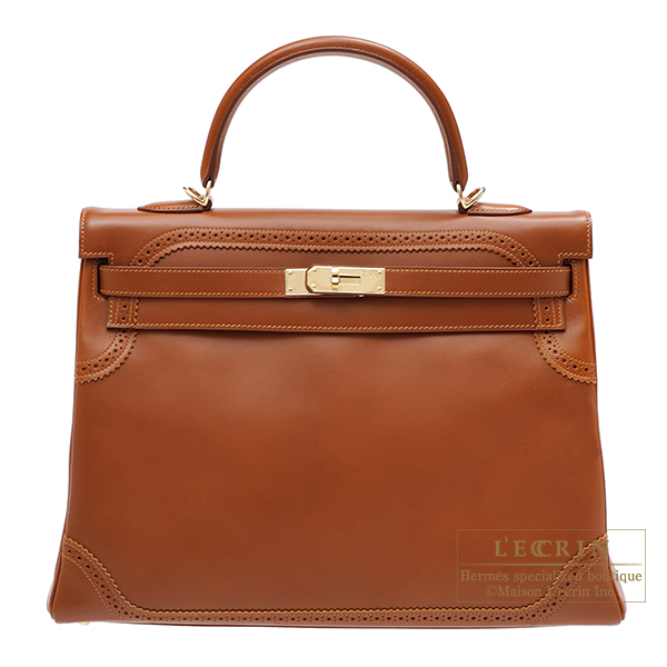 Hermes Kelly Ghillies bag 35 Retourne Fauve Tadelakt leather Champagne gold hardware