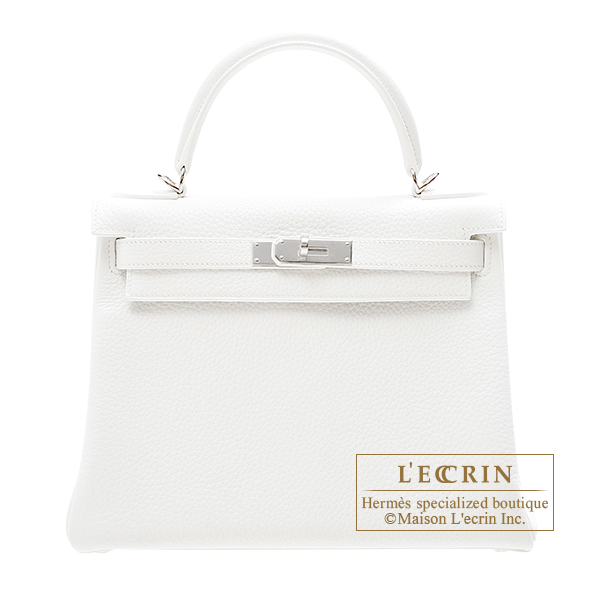 Hermes Kelly bag 28 Retourne White Clemence leather Silver hardware