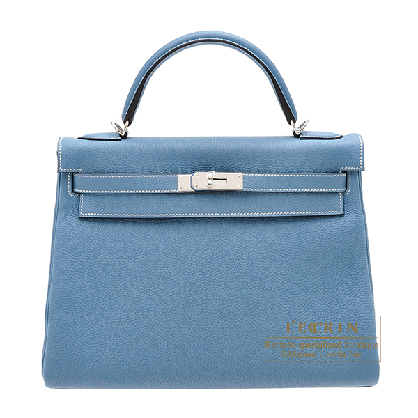Hermes Kelly bag 32 Retourne Blue jean Togo leather Silver hardware