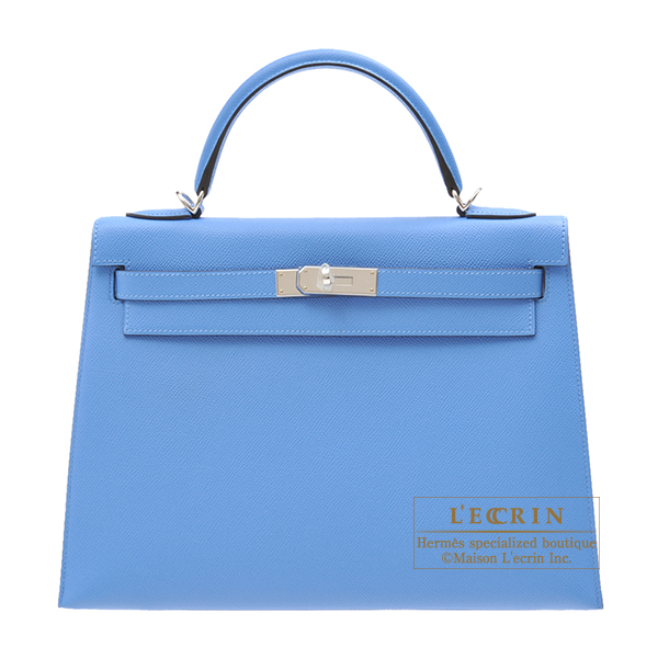 Hermes Kelly bag 32 Sellier Blue paradise Epsom leather Silver hardware