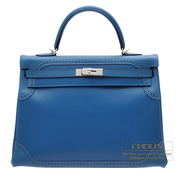 Hermes Kelly Ghillies bag 35 Retourne Blue de galice Grain d'H calfskin/Swift leather Silver hardware