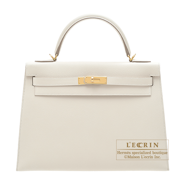 Hermes Kelly bag 32 Sellier Craie Epsom leather Gold hardware