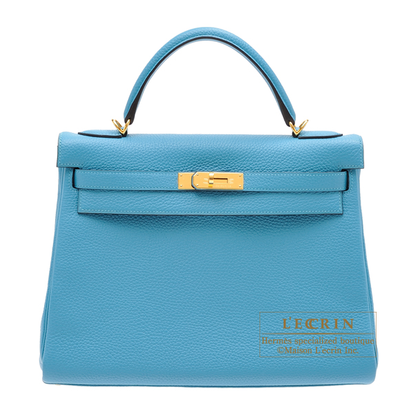 Hermes Kelly bag 32 Retourne Turquoise blue Clemence leather Gold hardware