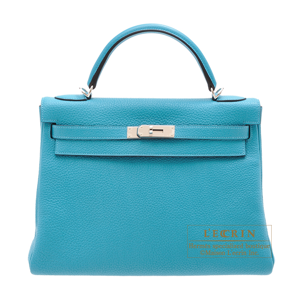 Hermes Kelly bag 32 Retourne Turquoise blue Clemence leather Silver hardware