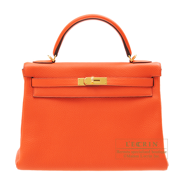 Hermes Kelly bag 32 Retourne Orange poppy Clemence leather Gold hardware