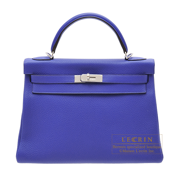 Hermes Kelly bag 32 Retourne Blue electric Clemence leather Silver hardware