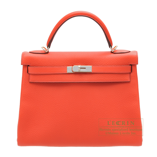 Hermes Kelly bag 32 Retourne Rouge pivoine Clemence leather Silver hardware