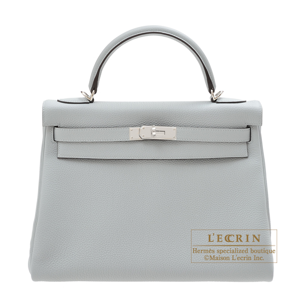 Hermes Kelly bag 32 Retourne Blue glacier Togo leather Silver hardware