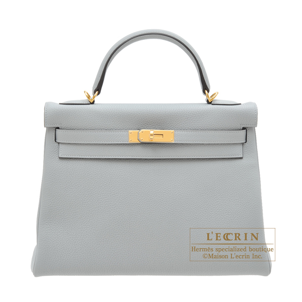 Hermes Kelly bag 32 Retourne Blue glacier Togo leather Gold hardware