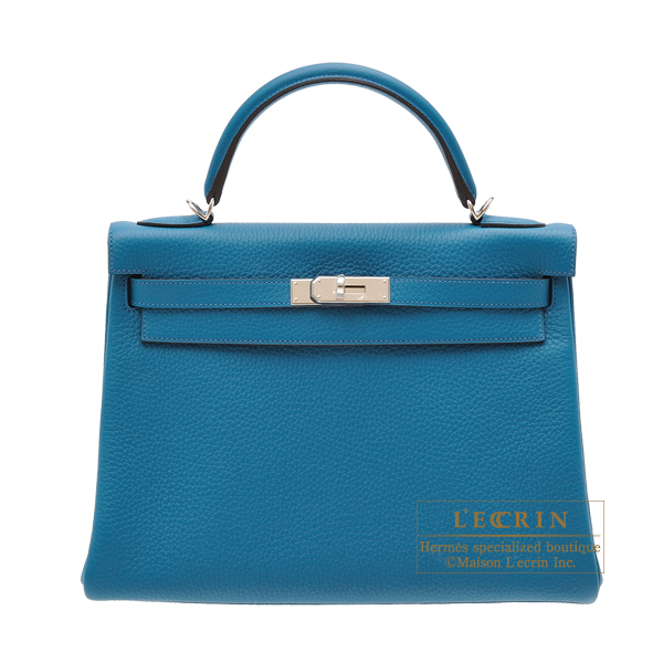 Hermes Kelly bag 32 Retourne Blue izmir Clemence leather Silver hardware