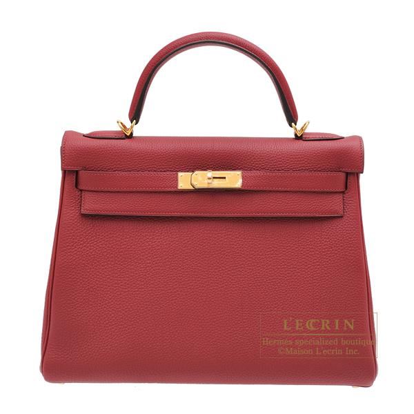 Hermes Kelly bag 32 Retourne Rouge grenat Togo leather Gold hardware
