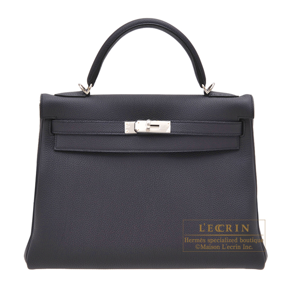 Hermes Kelly bag 32 Retourne Blue indigo Togo leather Silver hardware