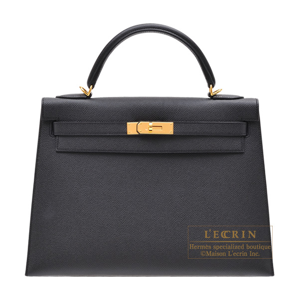 Hermes Kelly bag 32 Sellier Black Epsom leather Gold hardware