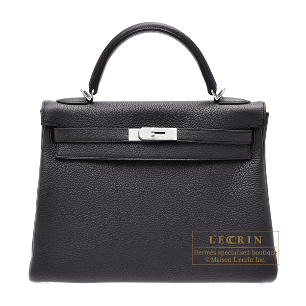 Hermes Kelly bag 32 Retourne Prunoir Clemence leather Silver hardware
