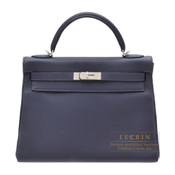 Hermes Kelly bag 32 Retourne Blue nuit Togo leather Silver hardware