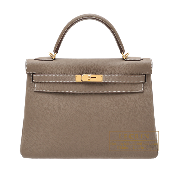 Hermes Kelly bag 32 Retourne Etoupe grey Togo leather Gold hardware