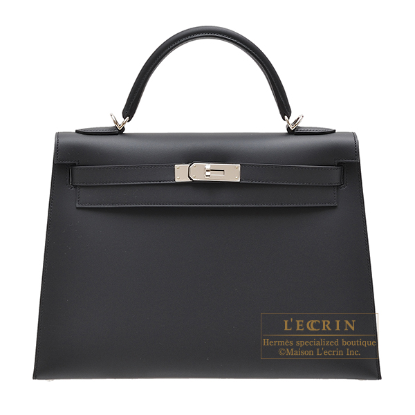 Hermes Kelly bag 32 Sellier Black Sombrero leather Silver hardware