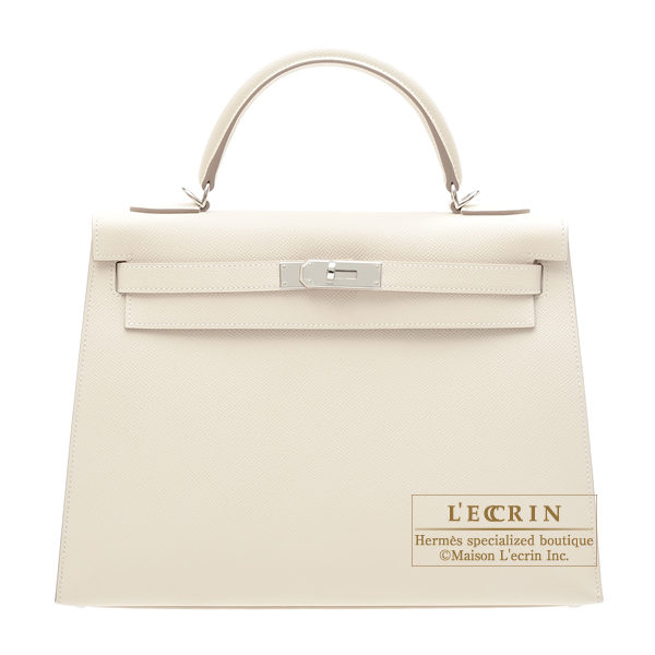 Hermes Kelly bag 32 Sellier Craie Epsom leather Silver hardware