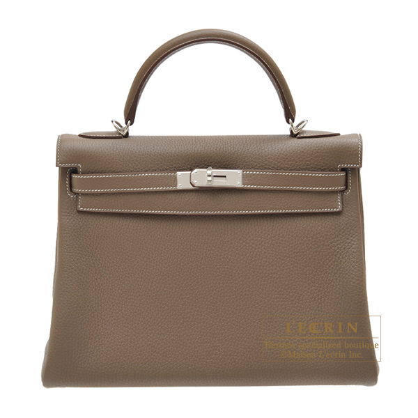 Hermes Kelly bag 32 Retourne Etoupe grey Clemence leather Silver hardware