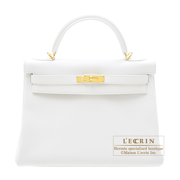 Hermes Kelly bag 32 Retourne White Clemence leather Gold hardware