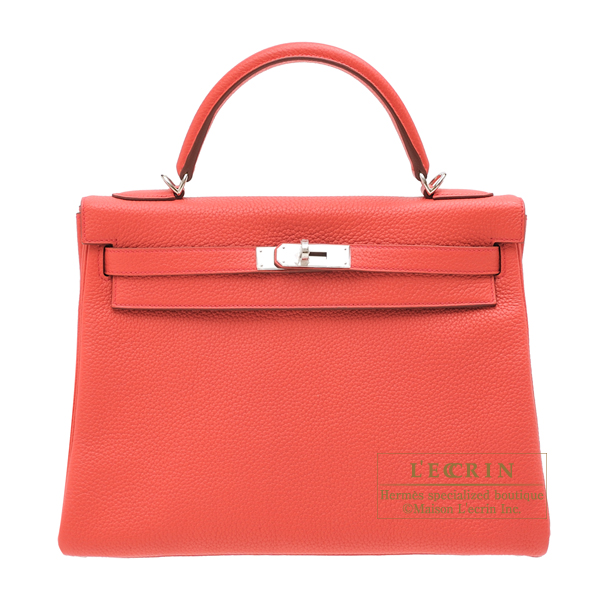 Hermes Kelly bag 32 Retourne Bougainvillier Clemence leather Silver hardware