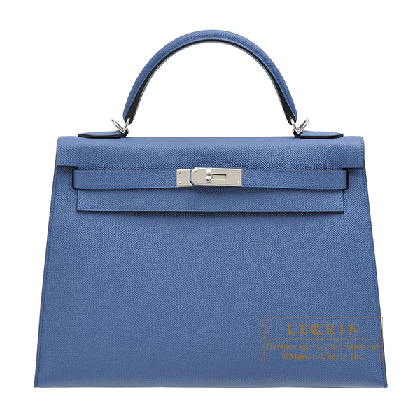 Hermes Kelly bag 32 Sellier Blue agate Epsom leather Silver hardware