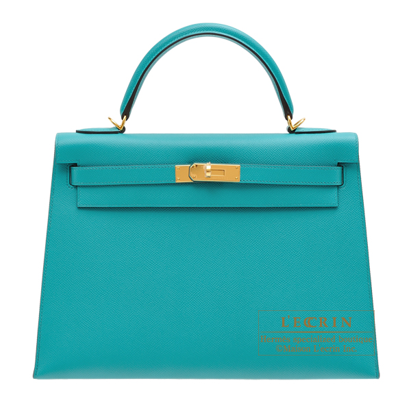 Hermes Kelly bag 32 Sellier Blue paon Epsom leather Gold hardware