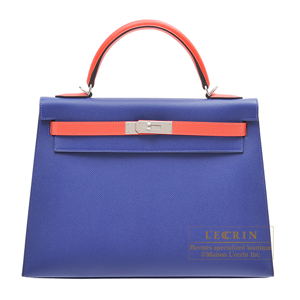 Hermes Personal Kelly bag 32 Sellier Blue electric/Rose jaipur Epsom leather Silver hardware