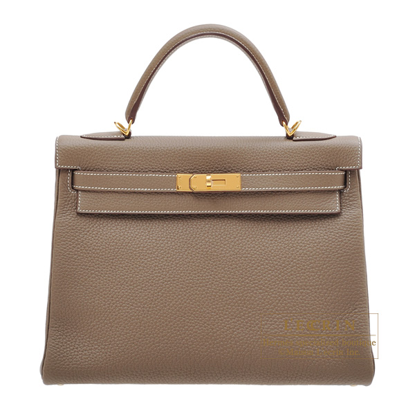 Hermes Kelly bag 32 Retourne Etoupe grey Clemence leather Gold hardware